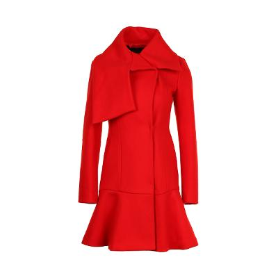 flare line collar point coat red